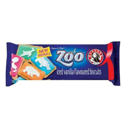 Bakers Zoo Iced Vanilla Flavored Biscuits (150 g) from South Africa - AubergineFoods.com