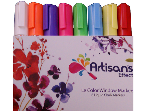 Artisan's Effect® Chalk Marker & Craft Markers 8 Pack  with 6mm Reversible Tip for Chalkboards, Windows, Glass and Canvas.