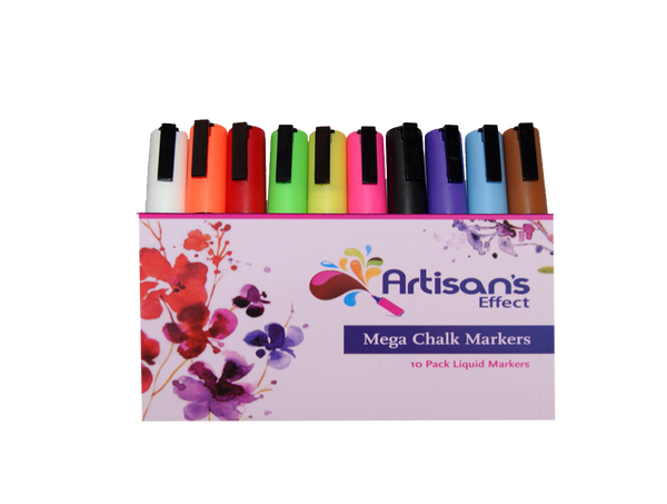 Artisan's Effect® -  Chalk & Craft Markers 10 Pack Double Amount of ink with 6mm Reversible Tip for chalkboards glass, and tile