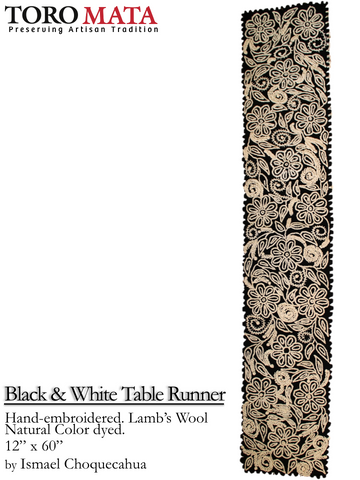 Hand Embroidered Black & White Table Runner