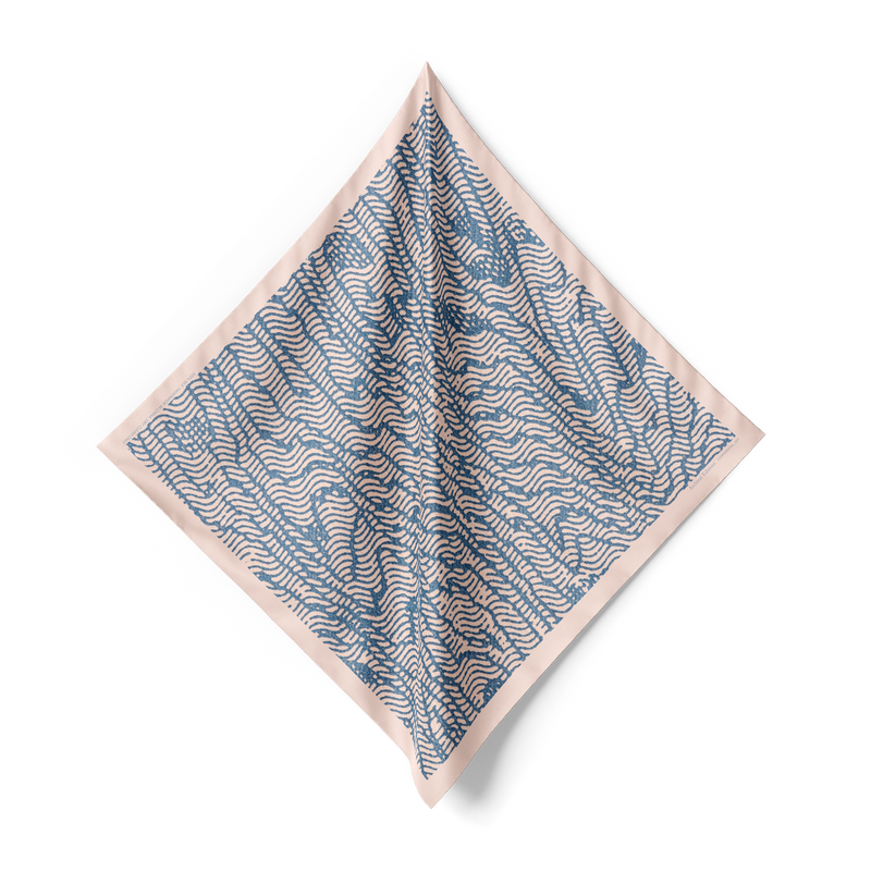 Confidential Bandana Silk Scarf in Faded Blue/Dusty Pink