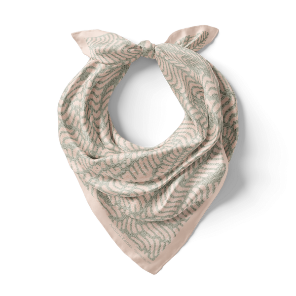 Confidential Bandana Silk Scarf in Faded Mint/Dusty Pink