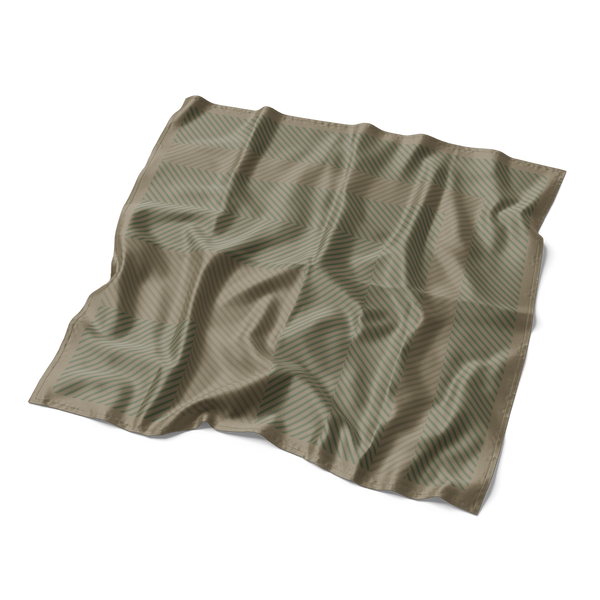 Geo Silk Pocket Square in Forest Green and British Khaki