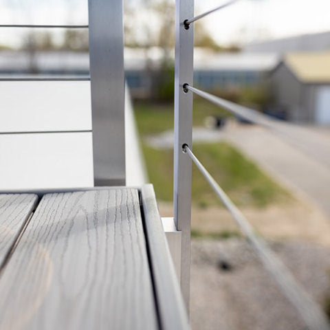 side mount posts installed on face of deck maximizing the surface space