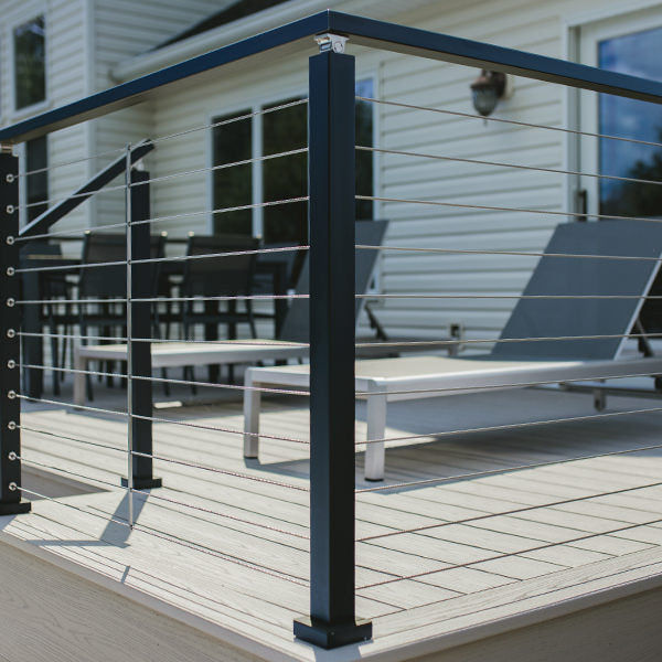 top mount cable rail posts aluminum black