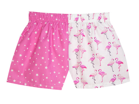 Girls Pink Star Flamingo Shorts