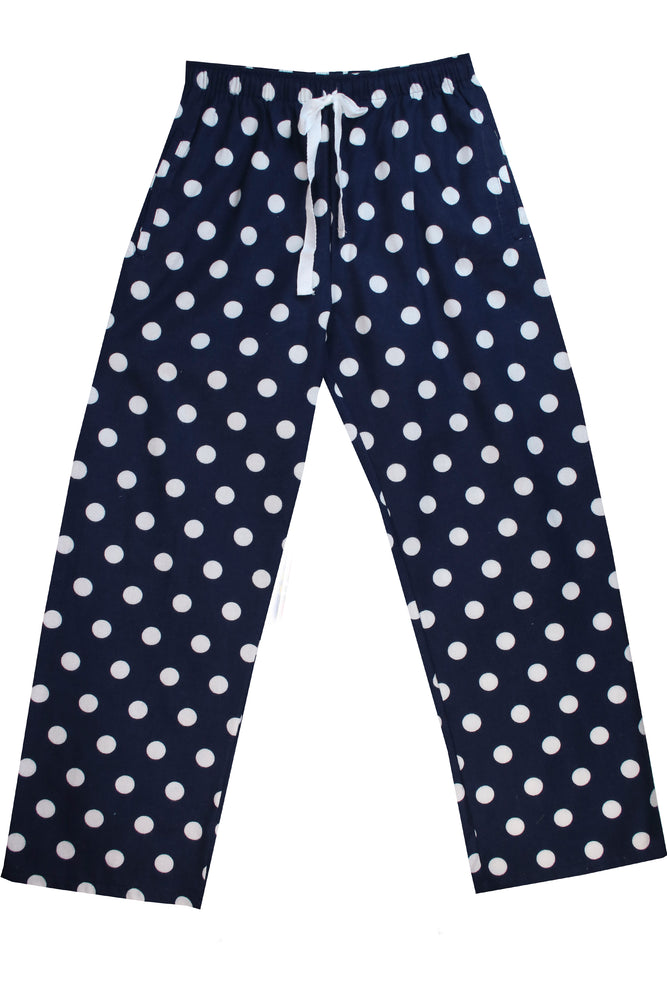 Brushed Navy White Spot Pyjama Bottoms