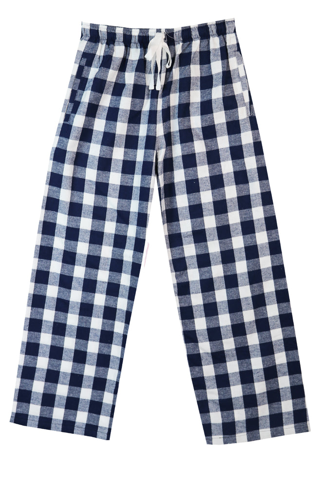 Brushed Navy/white Check Pyjama Bottoms