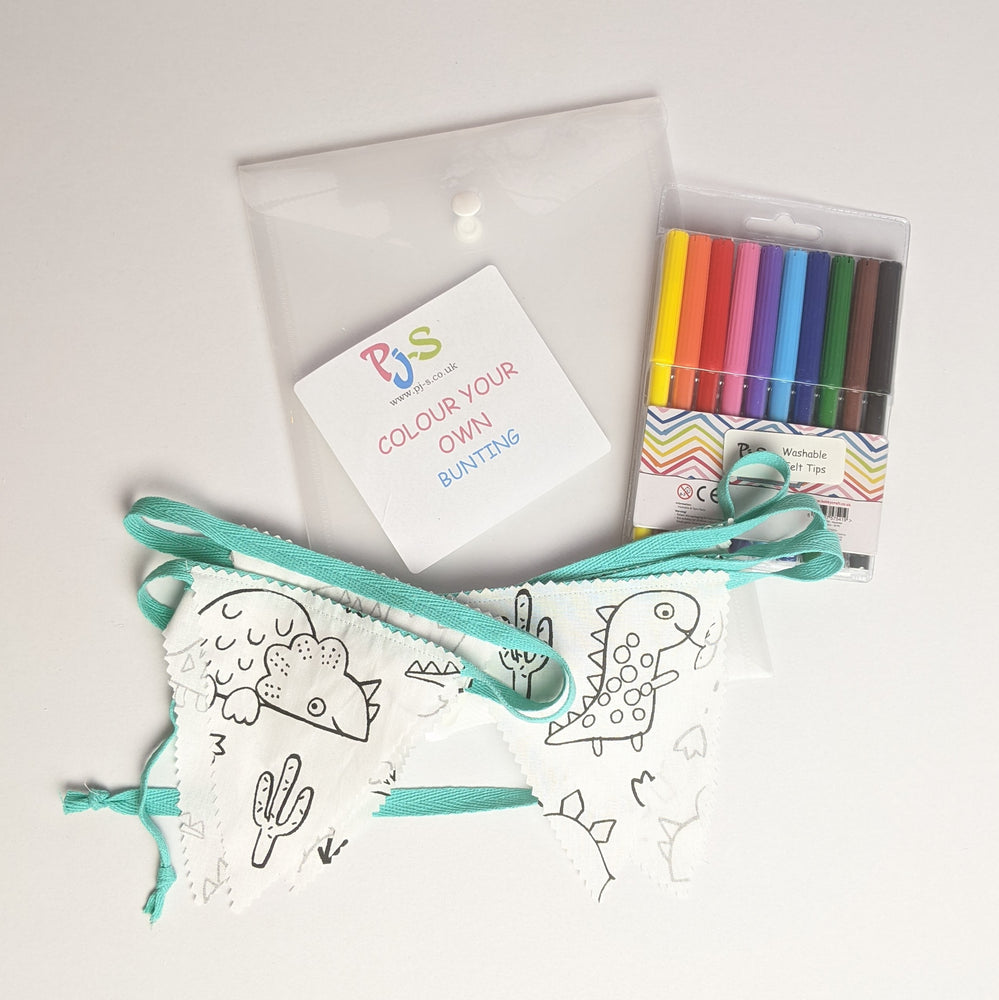 Colour Your Own Bunting - Dinosaur