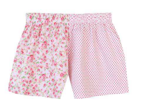 c3dfbb99b1 Personalised Pale Pink Rose   Pink Spot Girls Shorts – Pj-s Pyjamas