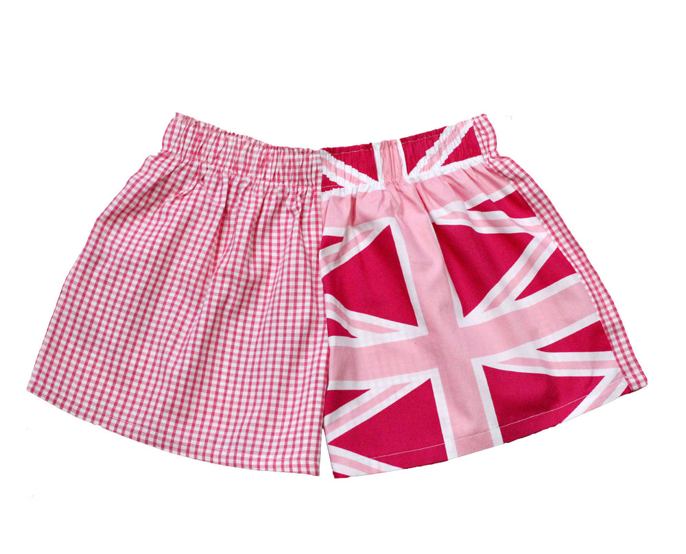 Girls Pink Union Jack Shorts