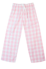 Brushed Pale Pink/white Check Pyjama Bottoms