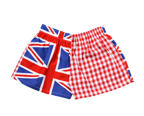 Pj-s Girls Red Union Jack pyjama Shorts