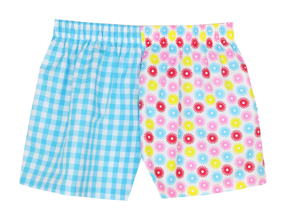Girls Multi Spot/Turq Check Shorts