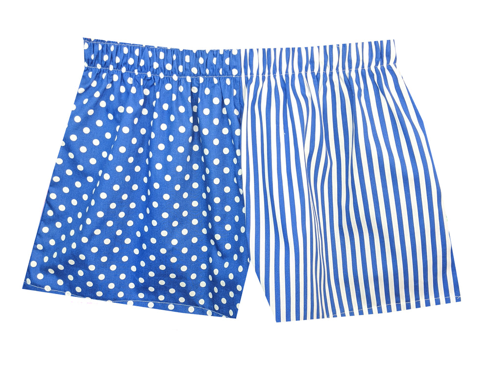 Girls Blue spot/stripe shorts