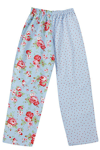 Pj-s Blue Rose Red Spot Pyjama Bottoms