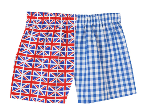 Girls Blue Mini Union Jack Shorts