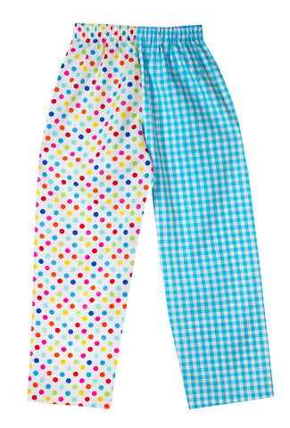 Multi spot turquoise check Pyjama Bottoms