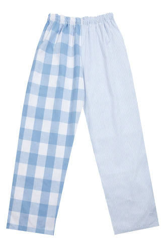Pj-s Pale Blue Check Stripe Pyjama Bottoms