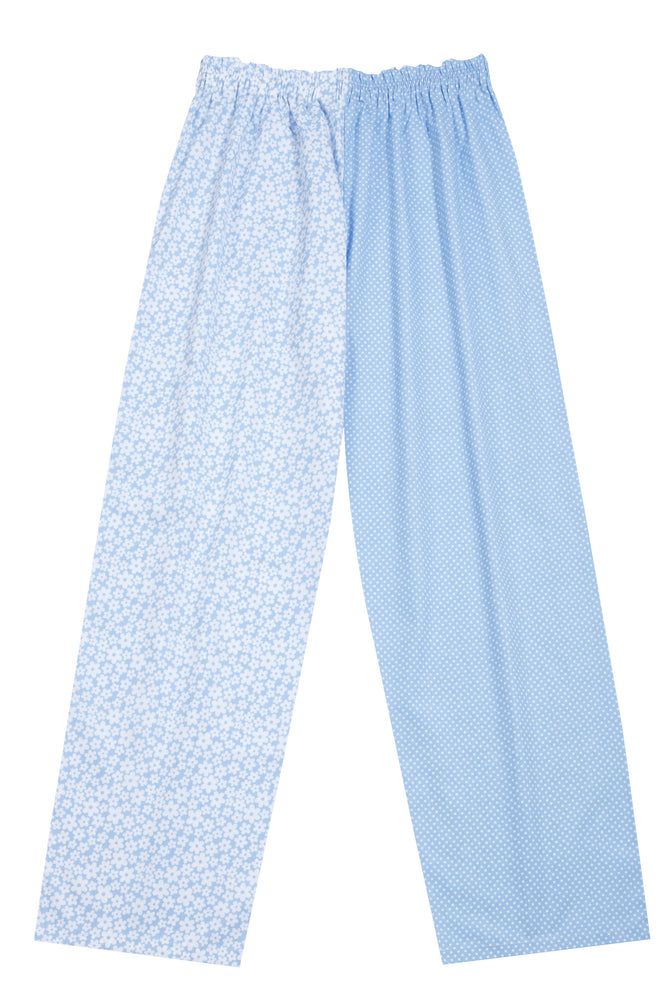 Pale Blue Flower Spot Pyjama Bottoms