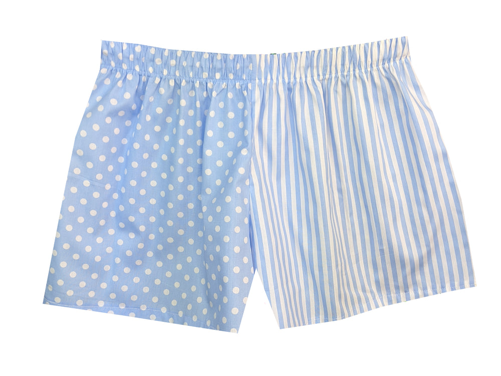 Girls Pale Blue Spots/Stripes Shorts