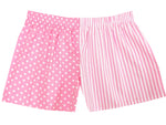 Girls Pink spot/stripe shorts