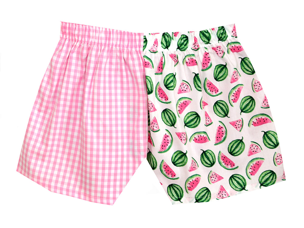 Girls Watermelon/pink check shorts