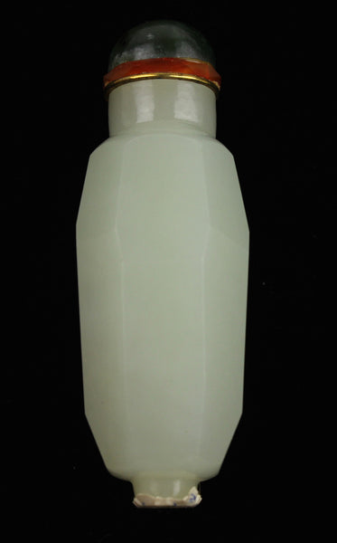 White Jade Faceted Snuff Bottle