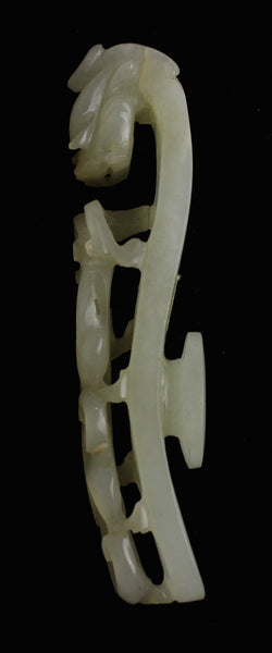 White Jade Ornamented and Pierced Belt Hook