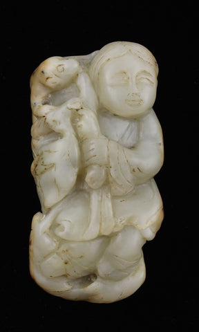 White Jade Traveller with Monkey Toggle