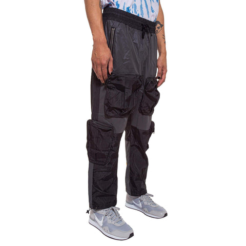 Color Block Nylon Cargo Pant - Black % Grey