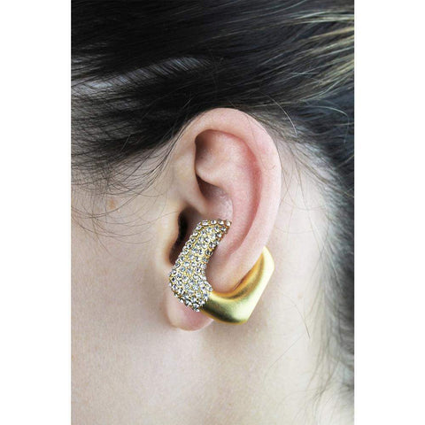 GCDS Strass Ear Cuff (Gold/White)