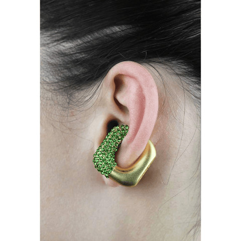 GCDS Strass Ear Cuff (Gold/Lime)