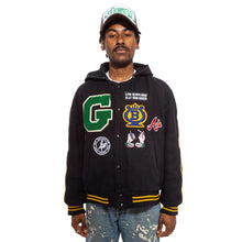 Hooded Varsity Jacket Black