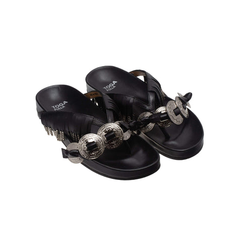 Metal Fringe Thong Sandals