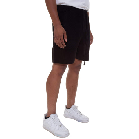 Black Cable Stitch Knit Shorts