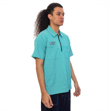 Sculptor Quarter Zip Teal Work Shirt