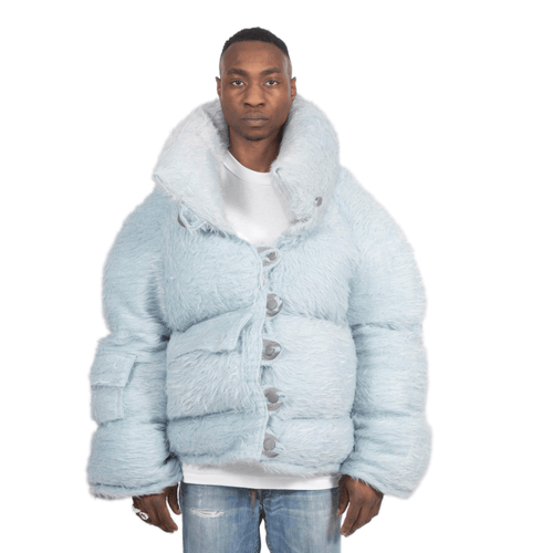 Waist Dusty Blue Fuzzy Puffer