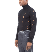 Lace-Hole Turtleneck Sweater
