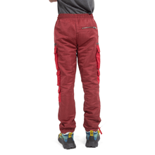Red Color Blocked Nylon Bungee Cargo Pant