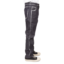 Brush Embroidered Edging Denim Trousers