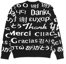 MULTI LANGUAGE JACQUARD KNIT SWEATSHIRT