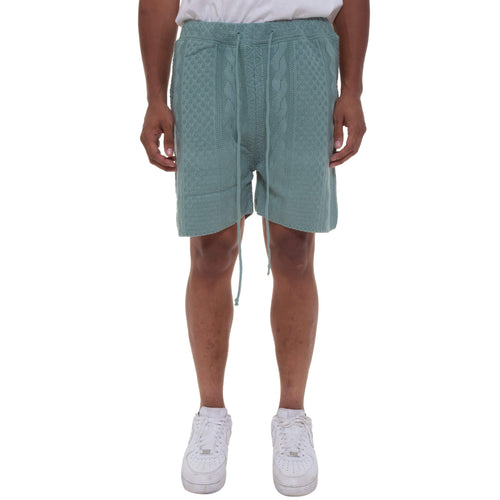 Blue Green Cable Stitch Knit Shorts