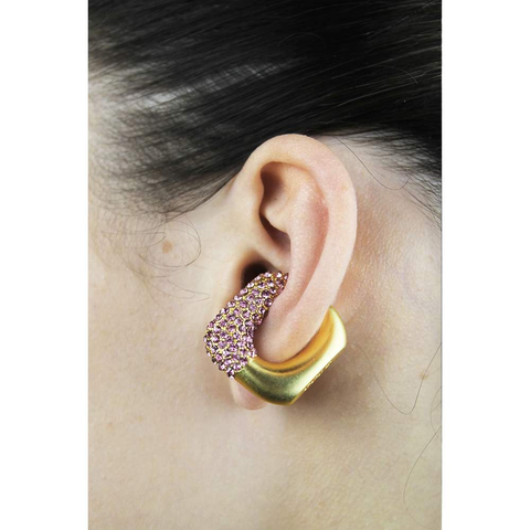 GCDS Strass Ear Cuff (Gold/Pink)