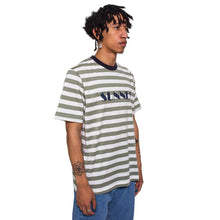 Striped Logo Print T-Shirt Olive