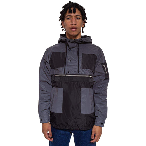 Color Block Anorak - Black & Grey