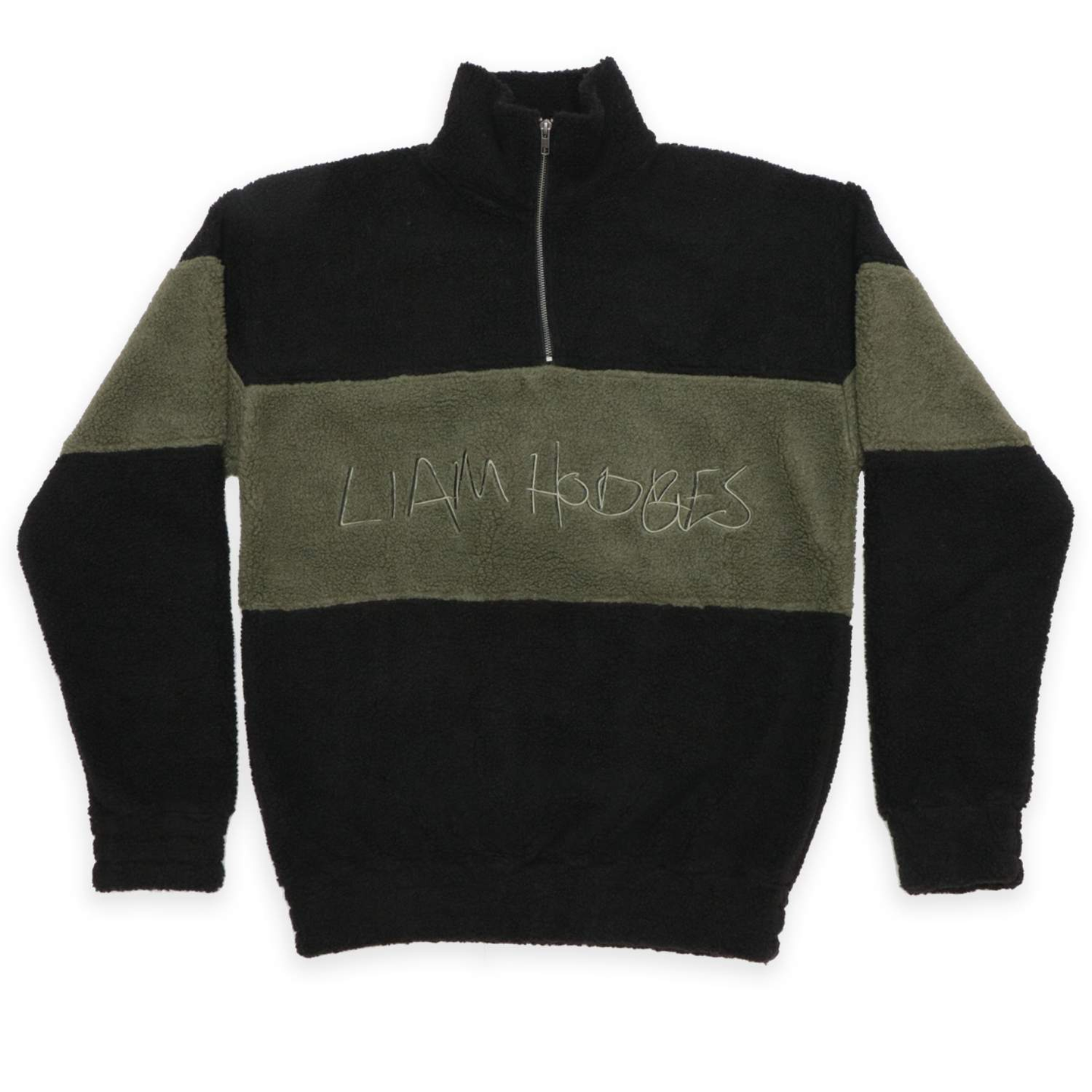 Black Hand Written Embroidered Fleece Sweatshirt