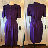 Classic Purple Straight Shirtwaist Secretary Dress, Sz 10, Career Working