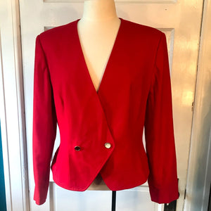 Vintage 1980's Pendleton Red Pure Virgin Wool Womens Blazer size 14