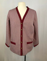 70's Womens Mod Burgundy Houndstooth Leisure Jacket, 1960's Shirt